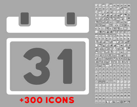 last day: Last Month Day vector icon with additional 300 date and time management pictograms. Style is bicolor flat symbols, dark gray and white colors, rounded angles, silver background.