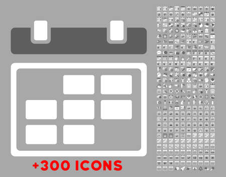daytime: Month Organizer vector icon with additional 300 date and time management pictograms. Style is bicolor flat symbols, dark gray and white colors, rounded angles, silver background. Illustration