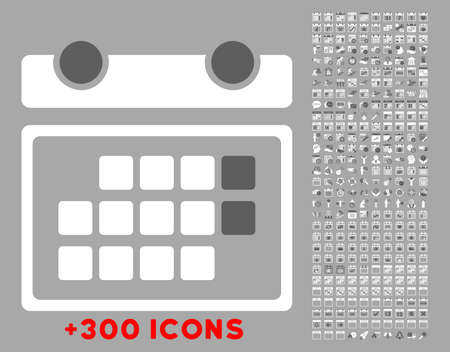 config: Month Appointment vector icon with additional 300 date and time management pictograms. Style is bicolor flat symbols, dark gray and white colors, rounded angles, silver background.