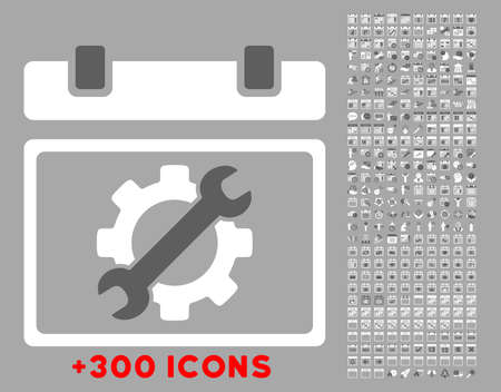 silver service: Service Date vector icon with additional 300 date and time management pictograms. Style is bicolor flat symbols, dark gray and white colors, rounded angles, silver background.