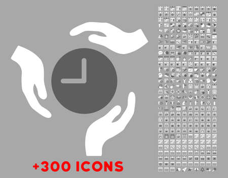 think safety: Time Care vector icon with additional 300 date and time management pictograms. Style is bicolor flat symbols, dark gray and white colors, rounded angles, silver background. Illustration