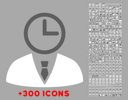 temporary workers: Time Manager vector icon with additional 300 date and time management pictograms. Style is bicolor flat symbols, dark gray and white colors, rounded angles, silver background.