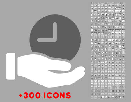 unnamed: Time Service vector icon with additional 300 date and time management pictograms. Style is bicolor flat symbols, dark gray and white colors, rounded angles, silver background.