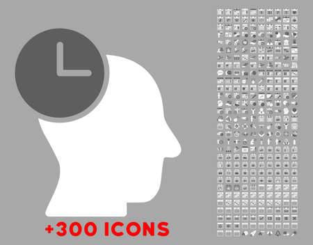 temporary workers: Time Thinking vector icon with additional 300 date and time management pictograms. Style is bicolor flat symbols, dark gray and white colors, rounded angles, silver background.