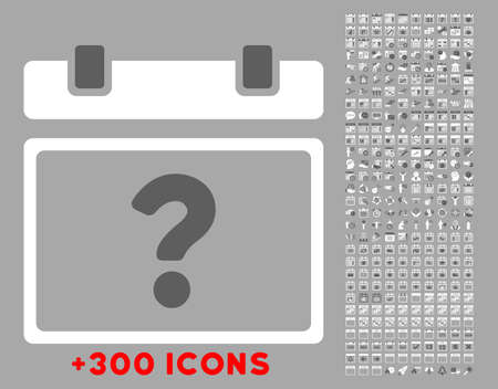 unnamed: Unknown Date vector icon with additional 300 date and time management pictograms. Style is bicolor flat symbols, dark gray and white colors, rounded angles, silver background.