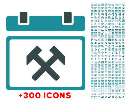config: Working Appointment Date glyph icon with additional 300 date and time management pictograms. Style is bicolor flat symbols, soft blue colors, rounded angles, white background.