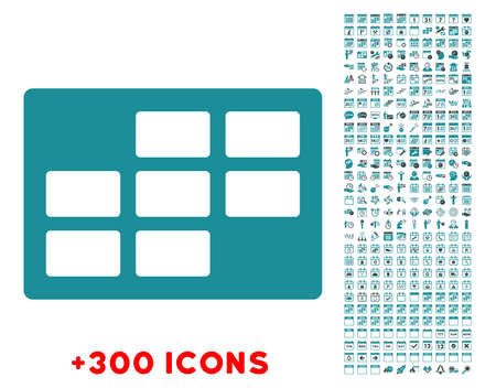 dataset: Syllabus Dataset glyph icon with additional 300 date and time management pictograms. Style is bicolor flat symbols, soft blue colors, rounded angles, white background.