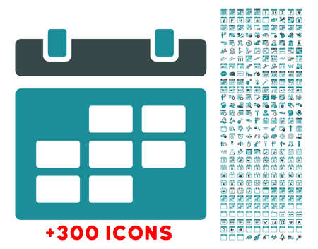dataset: Binder glyph icon with additional 300 date and time management pictograms. Style is bicolor flat symbols, soft blue colors, rounded angles, white background. Stock Photo