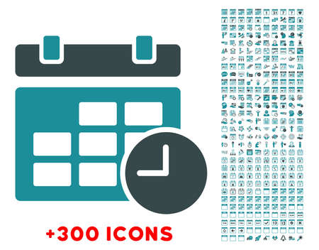 solicit: Date And Time glyph icon with additional 300 date and time management pictograms. Style is bicolor flat symbols, soft blue colors, rounded angles, white background.