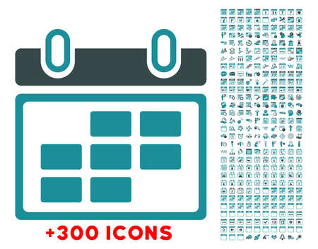 syllabus: Month Syllabus glyph icon with additional 300 date and time management pictograms. Style is bicolor flat symbols, soft blue colors, rounded angles, white background. Stock Photo