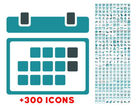 solicit: Month Organizer glyph icon with additional 300 date and time management pictograms. Style is bicolor flat symbols, soft blue colors, rounded angles, white background. Stock Photo
