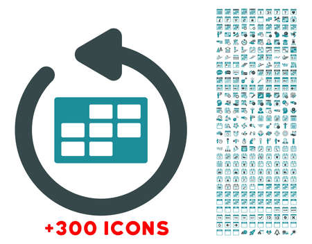 syllabus: Refresh Syllabus glyph icon with additional 300 date and time management pictograms. Style is bicolor flat symbols, soft blue colors, rounded angles, white background.