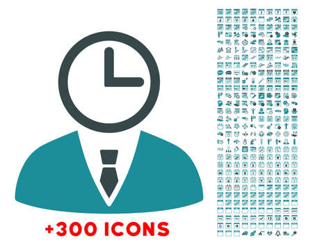 temporary workers: Time Manager glyph icon with additional 300 date and time management pictograms. Style is bicolor flat symbols, soft blue colors, rounded angles, white background.