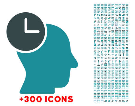 historian: Time Thinking glyph icon with additional 300 date and time management pictograms. Style is bicolor flat symbols, soft blue colors, rounded angles, white background. Stock Photo