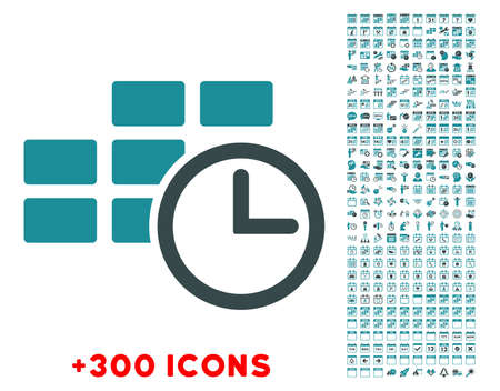 dataset: Time Dataset glyph icon with additional 300 date and time management pictograms. Style is bicolor flat symbols, soft blue colors, rounded angles, white background. Stock Photo
