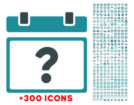 config: Unknown Date glyph icon with additional 300 date and time management pictograms. Style is bicolor flat symbols, soft blue colors, rounded angles, white background. Archivio Fotografico