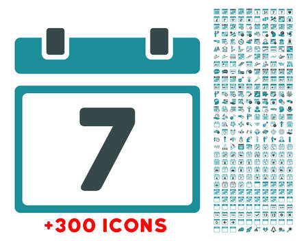 dataset: Week glyph icon with additional 300 date and time management pictograms. Style is bicolor flat symbols, soft blue colors, rounded angles, white background.