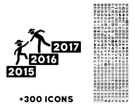 a fellow: Annual Fellow Help vector pictogram with additional 300 date and time management icons. Style is flat symbols, black color, rounded angles, white background.