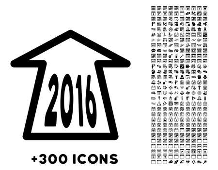 refresh rate: 2016 Ahead Arrow vector pictogram with additional 300 date and time management icons. Style is flat symbols, black color, rounded angles, white background. Illustration