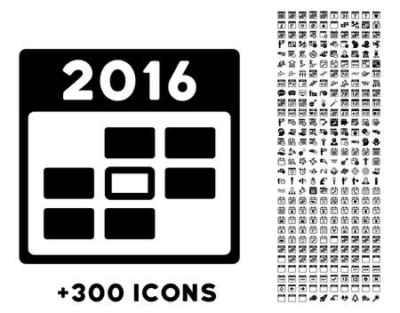 config: 2016 Syllabus Day vector pictogram with additional 300 date and time management icons. Style is flat symbols, black color, rounded angles, white background.