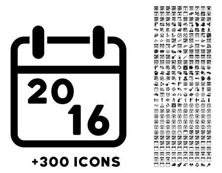 file clerk: 2016 Syllabus vector pictogram with additional 300 date and time management icons. Style is flat symbols, black color, rounded angles, white background. Illustration