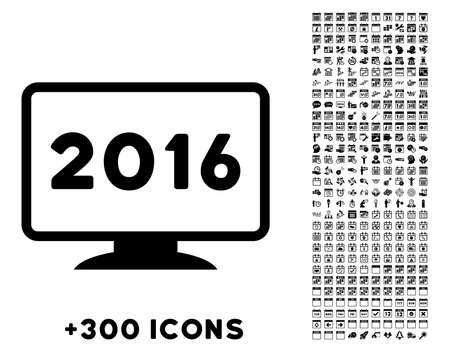 electronic organiser: 2016 Display vector pictogram with additional 300 date and time management icons. Style is flat symbols, black color, rounded angles, white background. Illustration