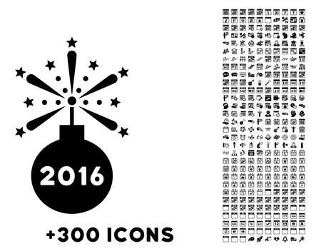 2016 Fireworks Detonator vector pictogram with additional 300 date and time management icons. Style is flat symbols, black color, rounded angles, white background.