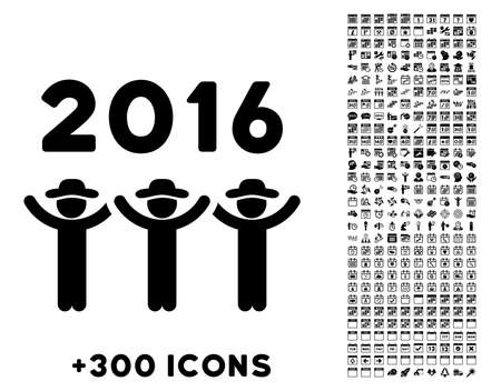 dance time: 2016 Guys Dance vector pictogram with additional 300 date and time management icons. Style is flat symbols, black color, rounded angles, white background.