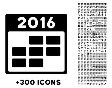 temporary employees: 2016 Month Calendar vector pictogram with additional 300 date and time management icons. Style is flat symbols, black color, rounded angles, white background.