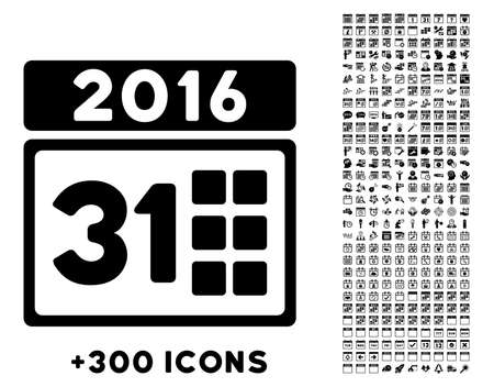 month: 2016 Month vector pictogram with additional 300 date and time management icons. Style is flat symbols, black color, rounded angles, white background. Illustration