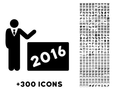 show time: 2016 Show vector pictogram with additional 300 date and time management icons. Style is flat symbols, black color, rounded angles, white background.