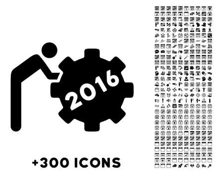 working man: 2016 Working Man vector pictogram with additional 300 date and time management icons. Style is flat symbols, black color, rounded angles, white background. Illustration
