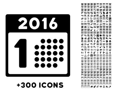 first day: First 2016 Day vector pictogram with additional 300 date and time management icons. Style is flat symbols, black color, rounded angles, white background. Illustration