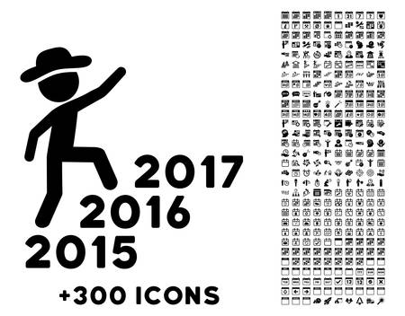 favorite number: Gentleman Steps Years vector pictogram with additional 300 date and time management icons. Style is flat symbols, black color, rounded angles, white background. Illustration
