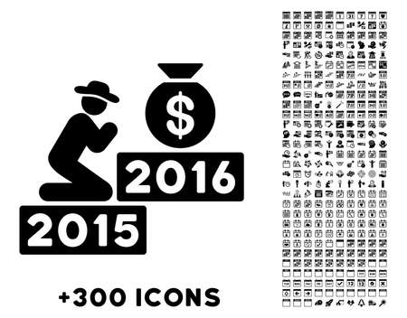 pray for: Pray For Money 2016 vector pictogram with additional 300 date and time management icons. Style is flat symbols, black color, rounded angles, white background.