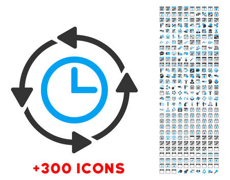 mechanical back: Wayback Clock vector pictogram with additional 300 date and time management icons. Style is bicolor flat symbols, blue and gray colors, rounded angles, white background.