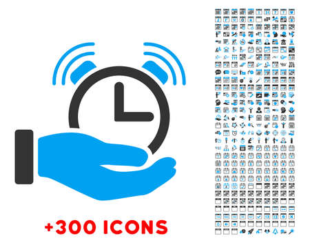 timed: Alarm Service vector pictogram with additional 300 date and time management icons. Style is bicolor flat symbols, blue and gray colors, rounded angles, white background. Illustration