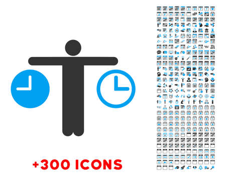 explosive watch: Compare Time vector pictogram with additional 300 date and time management icons. Style is bicolor flat symbols, blue and gray colors, rounded angles, white background.