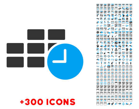 timed: Date Time vector pictogram with additional 300 date and time management icons. Style is bicolor flat symbols, blue and gray colors, rounded angles, white background.