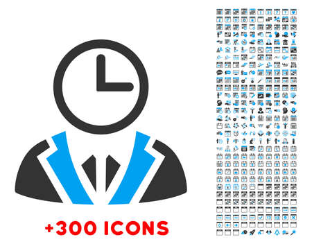duty: Duty Person vector pictogram with additional 300 date and time management icons. Style is bicolor flat symbols, blue and gray colors, rounded angles, white background.