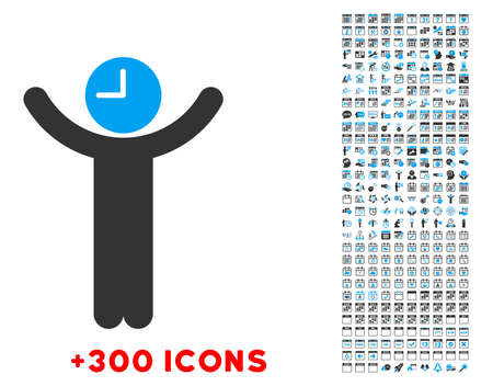 manipulate: Time Boss vector pictogram with additional 300 date and time management icons. Style is bicolor flat symbols, blue and gray colors, rounded angles, white background.