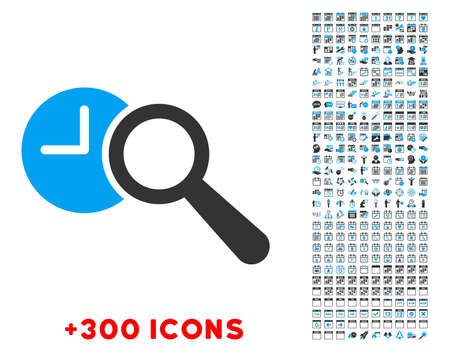 look up: Find Time vector pictogram with additional 300 date and time management icons. Style is bicolor flat symbols, blue and gray colors, rounded angles, white background.
