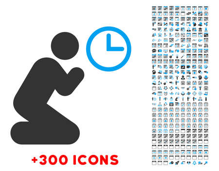 Pray Time vector pictogram with additional 300 date and time management icons. Style is bicolor flat symbols, blue and gray colors, rounded angles, white background.