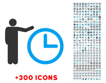 show time: Time Show vector pictogram with additional 300 date and time management icons. Style is bicolor flat symbols, blue and gray colors, rounded angles, white background.