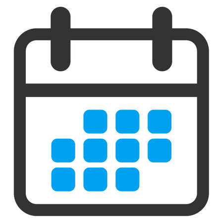 syllabus: Calendar Month glyph icon. Style is bicolor flat symbol, blue and gray colors, rounded angles, white background.