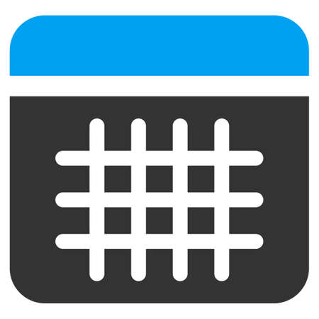 syllabus: Calendar glyph icon. Style is bicolor flat symbol, blue and gray colors, rounded angles, white background.