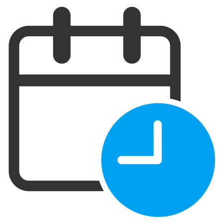 timed: Date Time glyph icon. Style is bicolor flat symbol, blue and gray colors, rounded angles, white background. Stock Photo