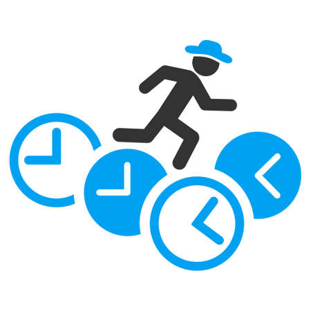 timed: Gentleman Running Over Clocks glyph icon. Style is bicolor flat symbol, blue and gray colors, rounded angles, white background.