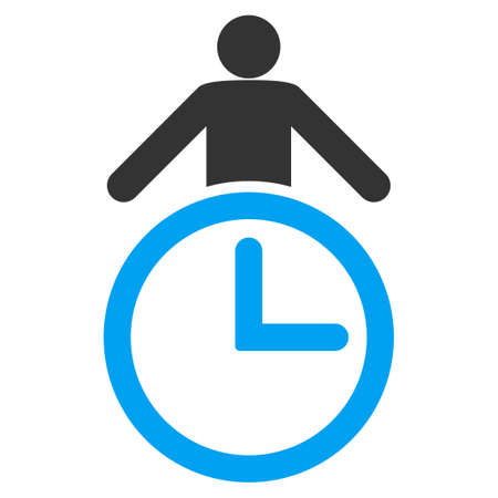 temporary workers: Time Manager glyph icon. Style is bicolor flat symbol, blue and gray colors, rounded angles, white background.