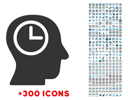 time account: Time Manager vector pictogram with additional 300 date and time management icons. Style is bicolor flat symbols, blue and gray colors, rounded angles, white background.